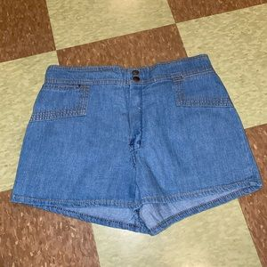 Vtg high rise denim chambray shorts md